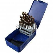 Grąžtų komplektas 1,0-13,0mm iš HSSE plieno, 25 vnt