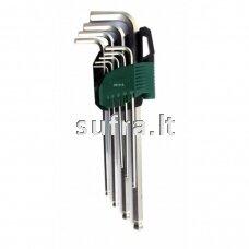 L-tipo šešiakampių prailgintų, apvalia galvute raktų rinkinys 9 vnt. (1.5-10 mm)